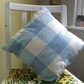 Handmade fabric cushion - blue and white check
