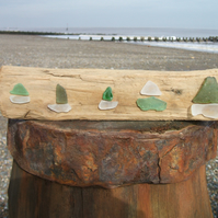 Seaglass and driftwood decoration - 5 boats