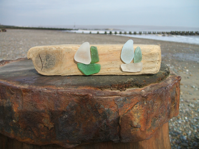 seaglass and driftwood decoration - 2 boats