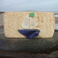 seaglass and driftwood decoration - boat with a blue hull