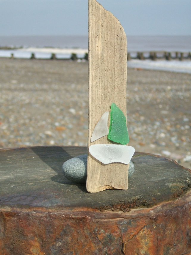 seaglass and driftwood decoration - boat with a green sail