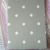 A5 covered notebook - grey and white spotty fabric