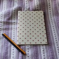 Fabric covered notebook or sketch pad - cream with pink spots