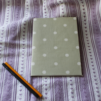 Fabric covered notebook or sketch pad - pale green with white spots