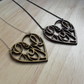 Wooden love heart necklace