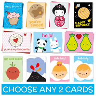 Kawaii Cards - pick any two - birthday, greetings, get well soon