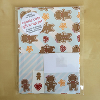 Gift Wrap Set with Tags - Cookie Cute Gingerbread Men