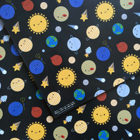 5 sheets of Gift Wrap - Solar System Kawaii Planets