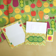 5 A Day Gift Wrap Set with tags and stickers - Kawaii Fruit & Vegetables