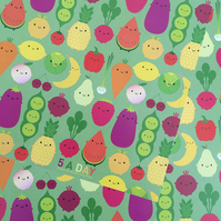 5 sheets of Gift Wrap - 5 A Day Kawaii Fruit & Vegetables