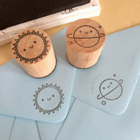 2 Polymer Stamps - Kawaii Sun & Planet