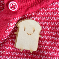 Wooden Brooch - Kawaii Bread Slice
