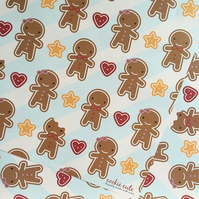 5 sheets of Gift Wrap - Cookie Cute Gingerbread Men
