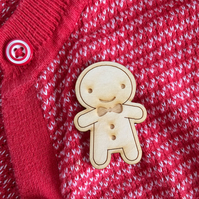 Happy Wooden Cookie Brooch - Kawaii Gingerbread Man