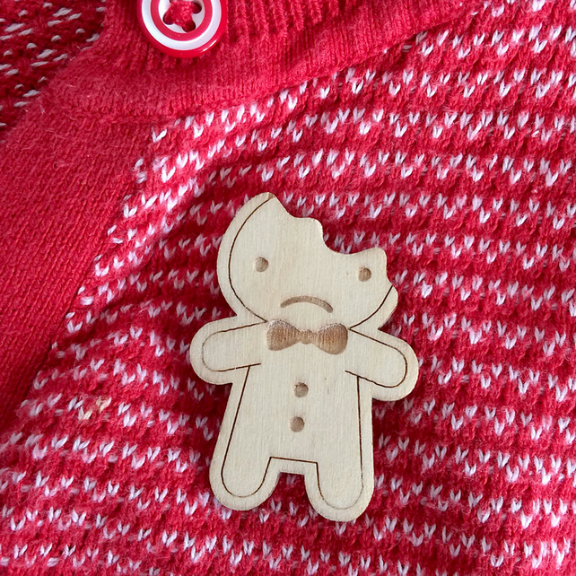Sad Gingerbread Man Wooden Brooch