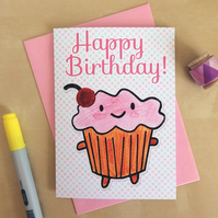 Happy Birthday Cupcake - Kawaii Card