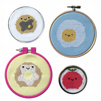Cross Stitch Kit - Kawaii Breakfast - Pancake, Fried Egg, Apple and Donut