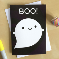 Boo! Happy Ghost Card - Kawaii Halloween
