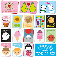 Kawaii Cards - pick any two - birthday, new baby, get well soon