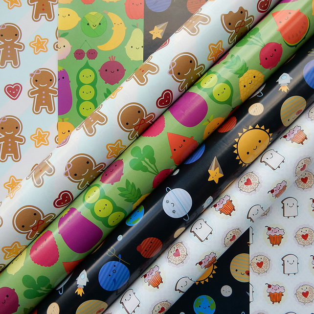 Pick 'n' Mix Gift Wrap - any 5 sheets - choose from 4 kawaii designs