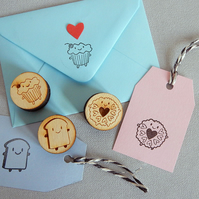 3 Polymer Stamps - Kawaii Cupcake, Bread Slice and Jammie Dodger Biscuit