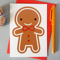 Gingerbread Man Kawaii Christmas Card