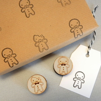 Kawaii Gingerbread Man Polymer Stamps
