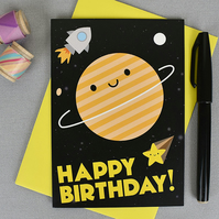 Kawaii Space Happy Birthday Card