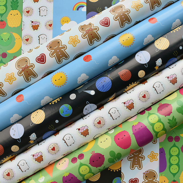 Pick 'n' Mix Gift Wrap - any 5 sheets - choose from 5 kawaii designs