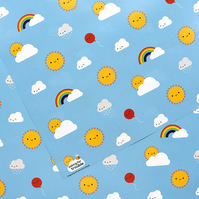 5 sheets of Gift Wrap - Kawaii Skies Rainbows & Clouds