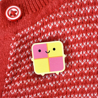 Battenberg Cake Kawaii Wooden Pin