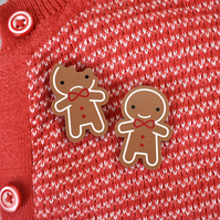 Gingerbread Man Wooden Pins - Kawaii Christmas