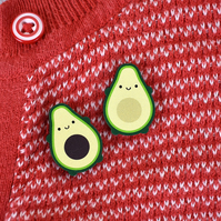 Avocado Kawaii Wooden Pins - Set of 2 For Best Friends