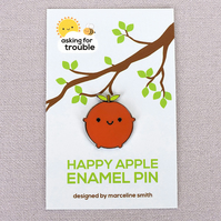 Happy Apple Kawaii Enamel Pin