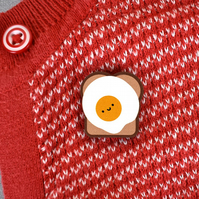 Fried Egg on Toast Kawaii Breakfast Wooden Pin