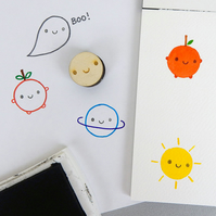 Kawaii Happy Face Polymer Stamp for Crafts & Journalling