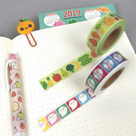Kawaii Washi Tape - Fruit & Vegetables or Rainbow Ghosts - Original Designs