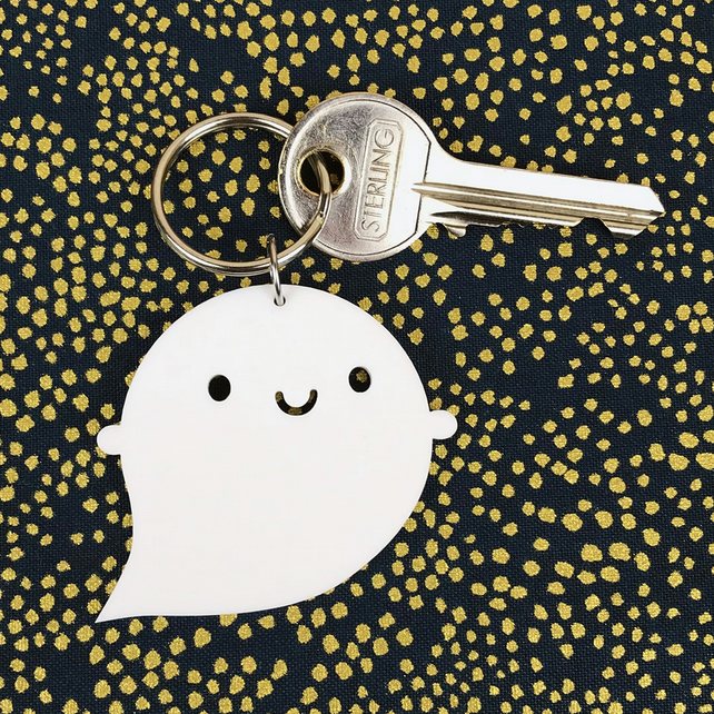 Kawaii Ghost Halloween Keyring, Keychain, Bag Charm or Pendant Necklace