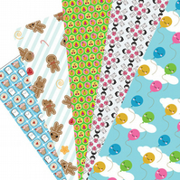Wrapping Paper Pack - 5 Kawaii Designs