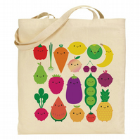 5 A Day - Kawaii Fruit and Vegetables Tote Bag