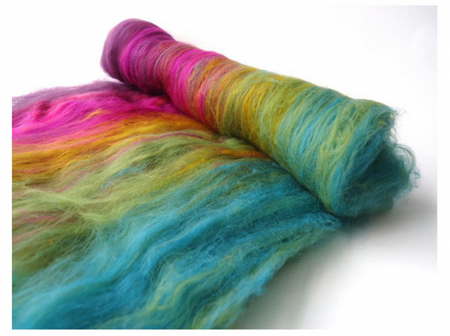 Art batt - 100g - Merino wool - spinning - felting - IRIDESCENT PUDDLE
