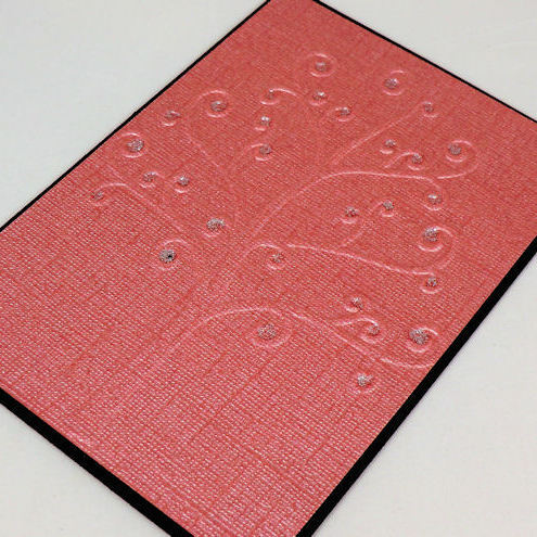 Card -  Red Embossed Tree