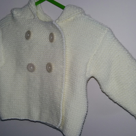 Hand Knitted Baby Hooded Cardigan 16""