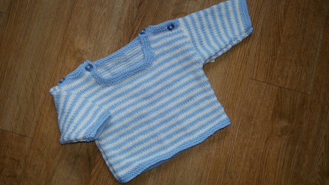 "Hand Knitted blue striped Jumper 16"" chest"