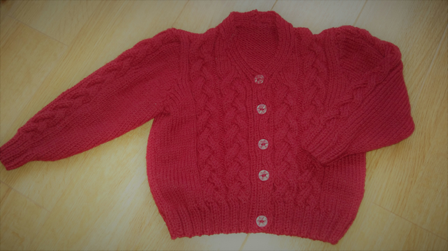 "Hand Knitted Red Cardigan 20"" chest"