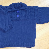 "Hand Knitted Guernsey Style Navy Blue Jumper 20"" chest"