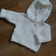 Cream Hand Knitted Hooded Cardigan 16""