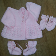 "Pink Hand Knitted Cardigan, Bootees and Mittens14"" (premature)"