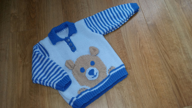 "Hand Knitted Teddy Bear Motif Jumper 20"" chest"