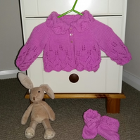 Hand Knitted Baby Cardigan and Bootees Set